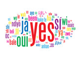 YES Tag Cloud (positive vote referendum ok tick quality service) poster