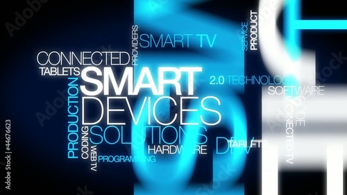 Connected Smart Devices solutions word  tag cloud video