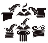 vector collection of old books, parchment and history symbols poster