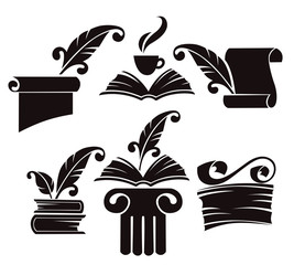 vector collection of old books, parchment and history symbols
