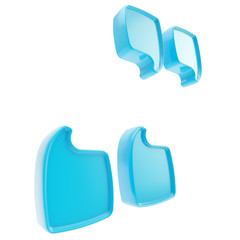 In quotes symbol made of blue glossy plastic