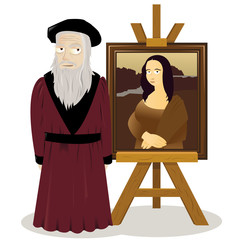 Mona Lisa Easel and Leonardo Da Vinci