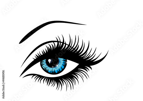 Vector illustration beautiful female blue eye