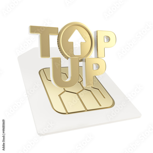 Top-up emblem icon over sim card chip microcircuit