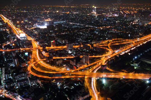 Bangkok Cityscape Expressway and Highway top view on evening, Th