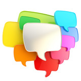 Cloud of speech text bubbles as copyspace plate isolated