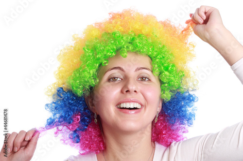 Smiling with clown hair