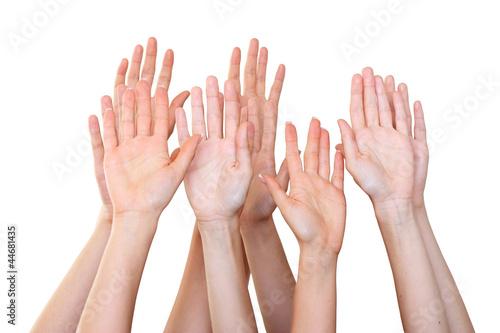 People raise hands