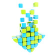 Segmented glossy arrow made of blue and green cubes