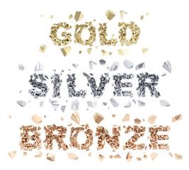 Gold, silver, bronze words broken into shiny pieces
