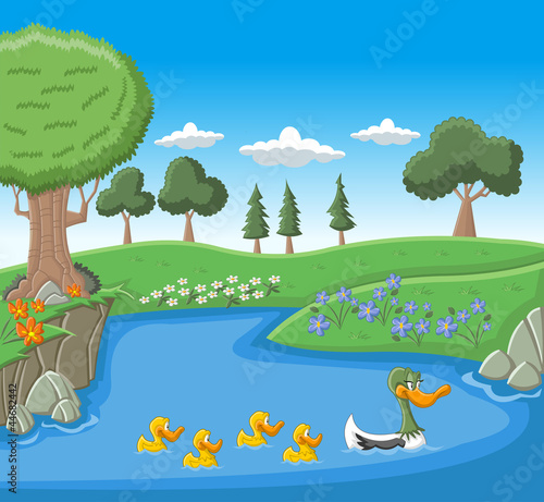 Tuinposter Rivier, meer A mother duck swimming with her ducklings on blue lake
