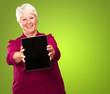 Portrait Of A Senior Woman Holding A Laptop