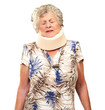 A Senior Woman Wearing A Neckbrace