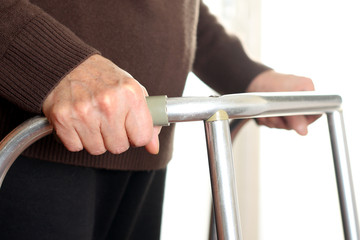 Patient using a walker