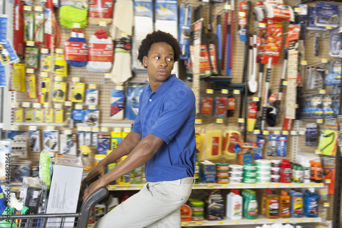 Side view of African American in hardware store
