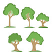 set of five green trees