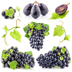 Collection of Grapes isolated on white background