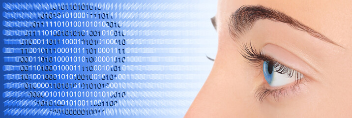 Woman eye on blue technology e-mail background