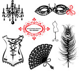 Set of elements for women - Carnival Mask, Corset, Fan