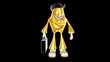 Funny golden 3d boss mr. Multic enjoys success in business