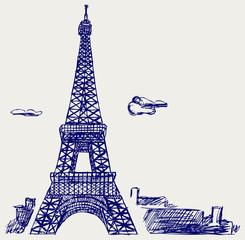 Eiffel Tower in Paris. Doodle style
