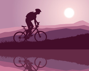 cyclist silhouette at sunrise