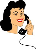 happy lady on rotary phone  over white