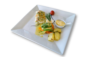 Grilled fish with Aioli and vegetables.