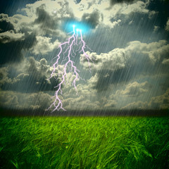 The weat and storm field and hard rain