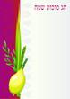 Happy Sukkot with palms,stars,curtain