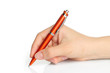 Hand with orange pen on white background