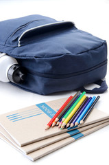Back to school concept, stationary and school bag