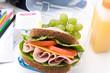 Well balanced school packed lunch, healthy ham sandwich