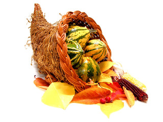 Thanksgiving or harvest cornucopia with leaves and gourds