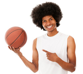 Basketball player holding the ball