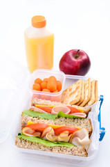 Delicious packed lunch with sandwich and apple