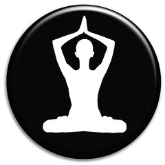 Woman practicing yoga - black sign
