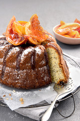 Delicious poppyseed cake with candied citrus fruit