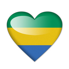 Gabon flag in heart shape isolated on white background