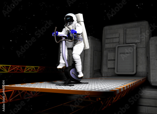 Scene of the astronaut on exercise bicycle