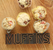 fruit and nut muffins with word