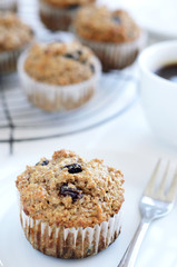 Breakfast muffin with coffee
