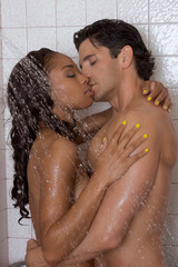 Love kiss couple naked Man and woman in shower