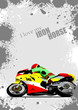 Grunge gray background with motorcycle image. Iron horse. Vector