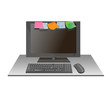 colorful stickies  note on laptop