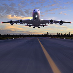 airplane landing 3D illustration