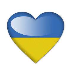Ukraine flag in heart shape isolated on white background