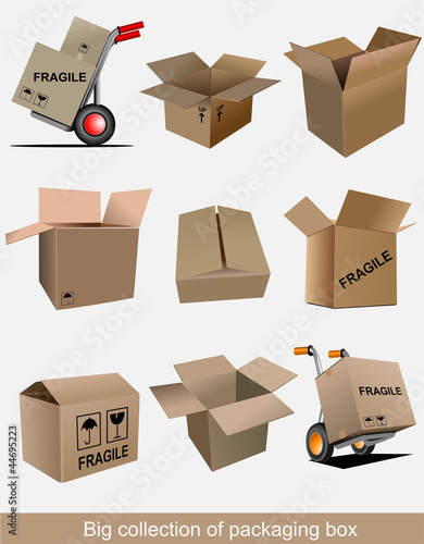 Big collection of carton packaging boxes. Vector illustration