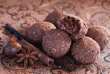 Oatmeal, bran and chocolate cookies with spices, selective focus