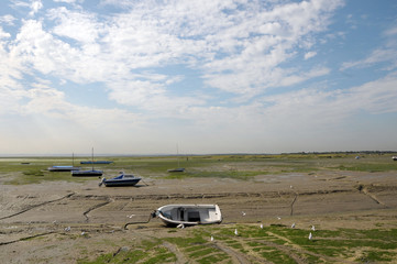 Yachts at low tide, Thames estuary, Leigh-on-sea